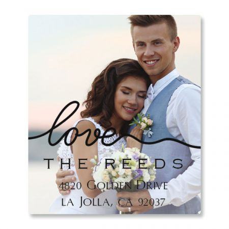 Love Black Caption Select Photo Return Address Label