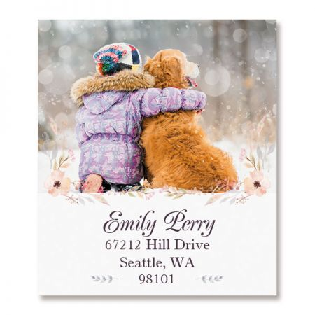 Floral Cameo Select Photo Return Address Label