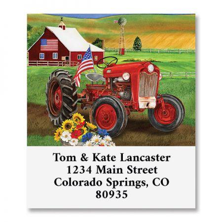 Patriotic Tractor Select Return Address Labels