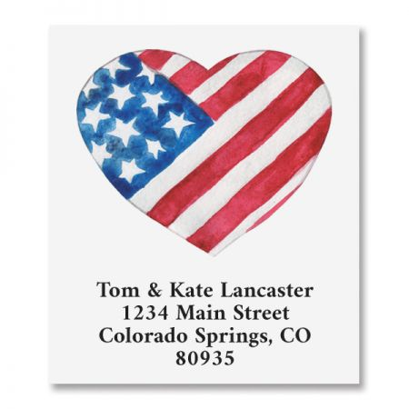 Patriotic Heart Select Return Address Labels