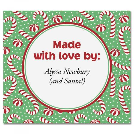 Jolly Candy Canes  Personalized Goodie Labels