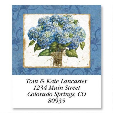 Blue Hydrangea Select Return Address Labels
