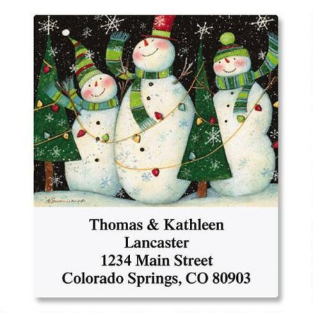 3 Snowmen Select Return Address Labels