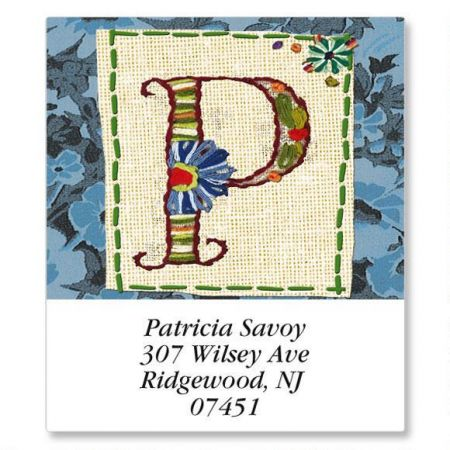 Hand Stitched Initial Select Return Address Labels