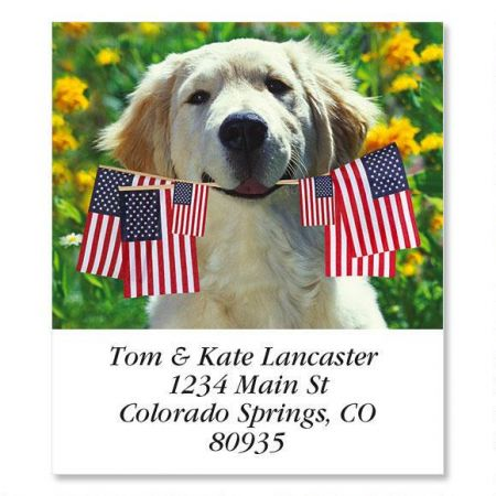 Patriotic Pup Select Return Address Labels
