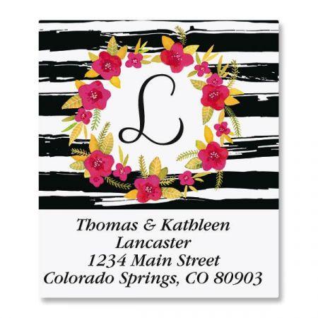 Vivid Wreath Initial Select Return Address Labels