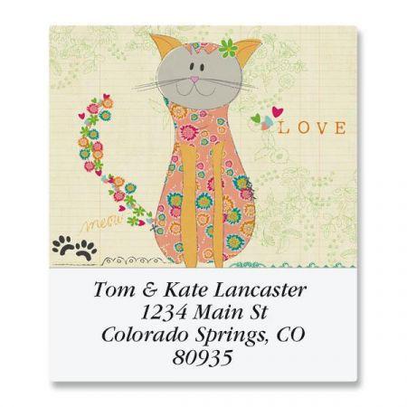 Patchwork Cat Select Return Address Labels