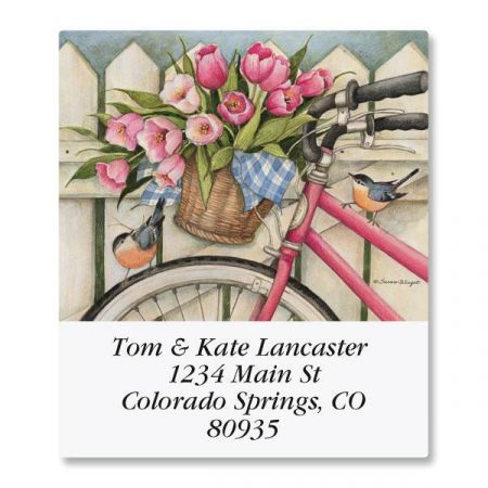 Bike with Flowers Select Return Address Labels