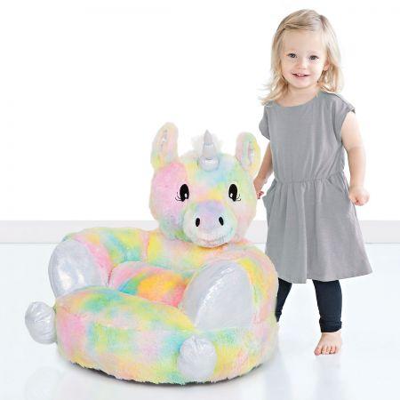 Plush Rainbow Unicorn Children's Character Chair