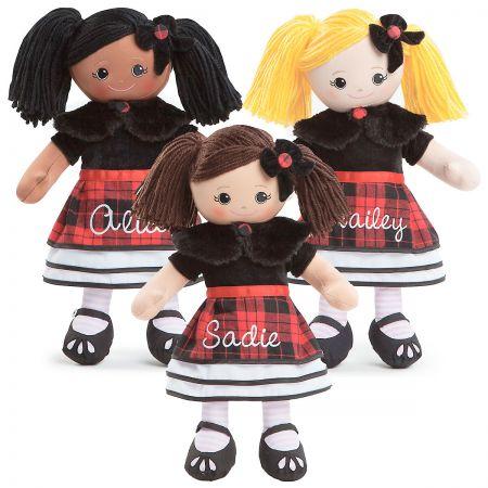 Custom Rag Doll in Plaid Dress