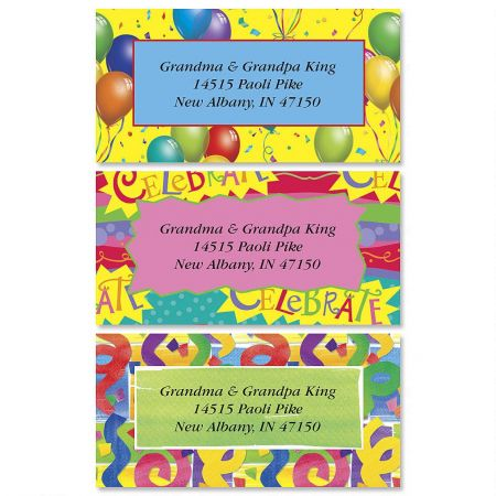 Celebrate Border Return Address Labels  (3 Designs)