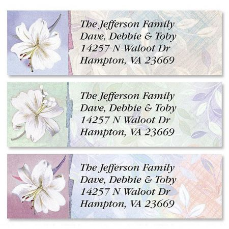 White Lilies Classic Return Address Labels  (3 Designs)