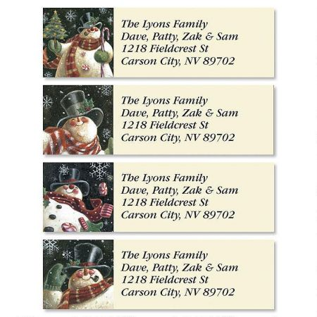 Joyous Snowman Classic Return Address Labels (4 Designs)