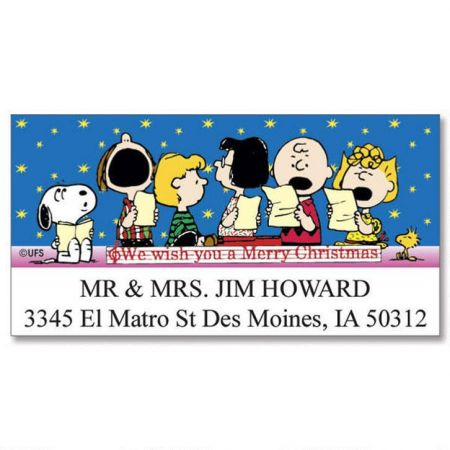 peanuts christmas fun deluxe return address labels colorful images