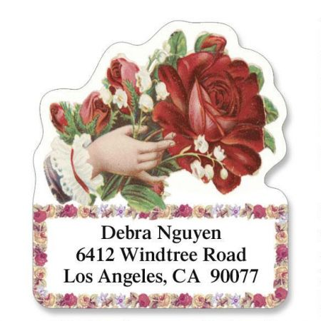 Victorian Rose Diecut Return Address Labels  (6 Designs)