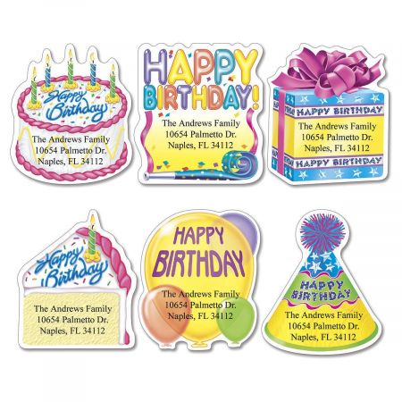 Birthday Diecut Return Address Labels  (6 Designs)