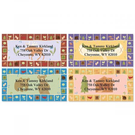 Lodge Border Return Address Labels  (4 Designs)