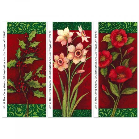 Christmas Floral Supersized Return Address Labels  (3 Designs)