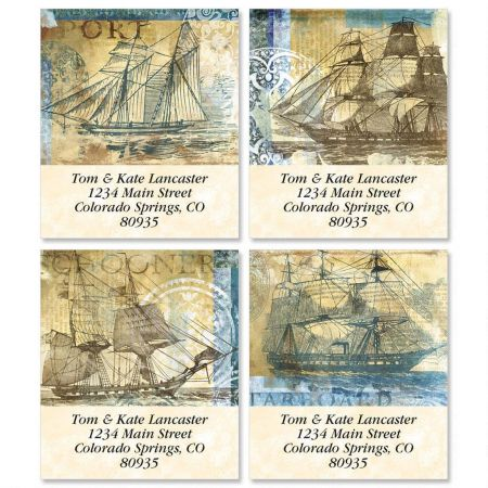 Sailing Ships Select Return Address Labels  (4 Designs)