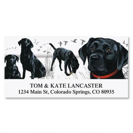 dog breed deluxe return address labels colorful images