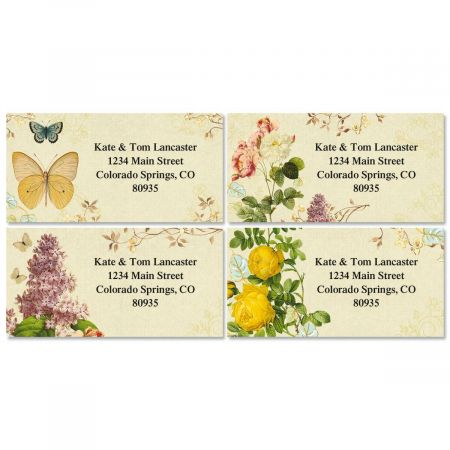 Nature's Flora Border Return Address Labels  (4 Designs)