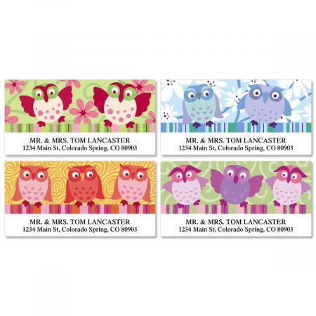 Colorful Owls Deluxe Return Address Labels  (4 Designs)