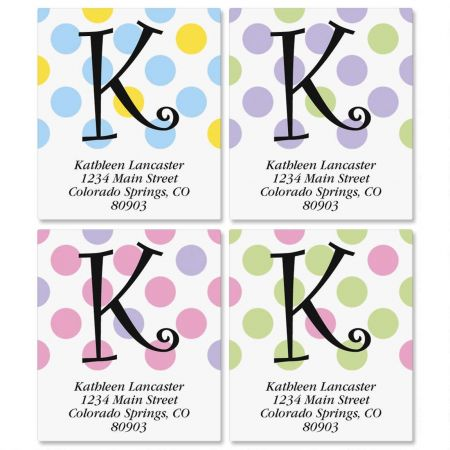 Initial Polka Dots Select Return Address Labels  (4 Designs)