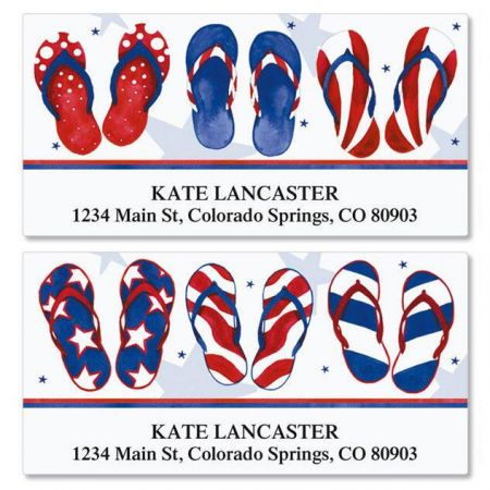 Americana Flip-Flops Deluxe Return Address Labels  (2 Designs)