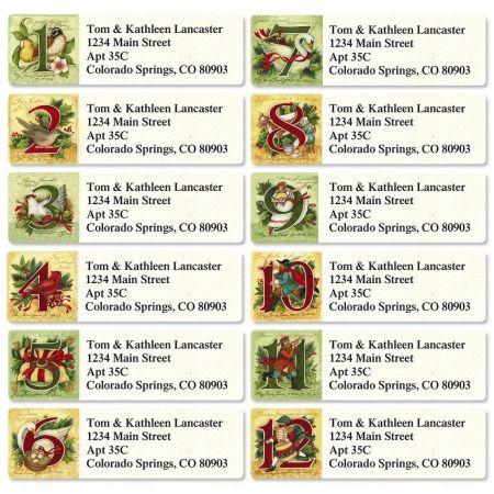 12 Days Classic Return Address Labels  (12 Designs)