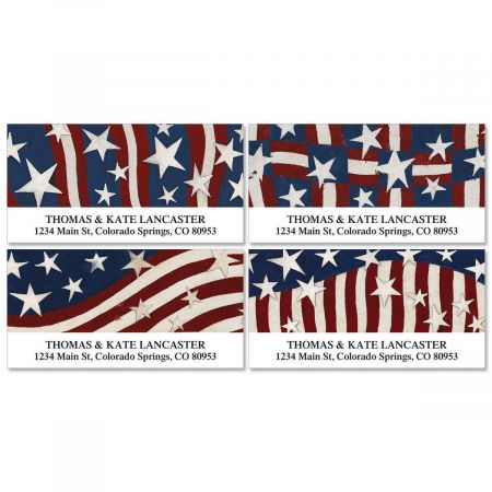 Patriotic Banner Deluxe Return Address Labels  (4 Designs)