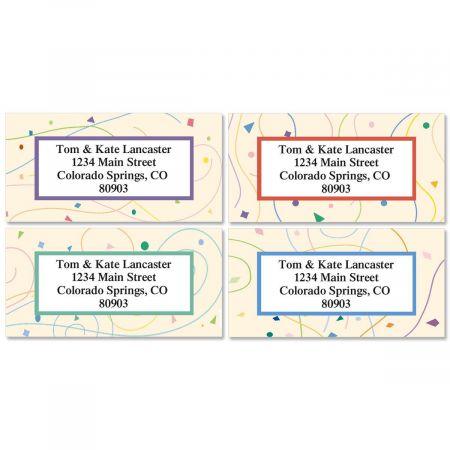 Confetti Border Return Address Labels  (4 Designs)