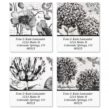 Botanical B&W Select Return Address Labels  (4 designs)