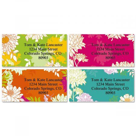 Peonies in Color Border Return Address Labels  (4 Designs)