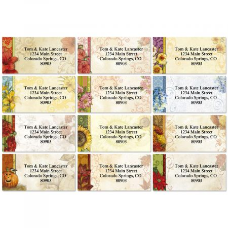 Every Season Border Return Address Labels  (12 Designs)