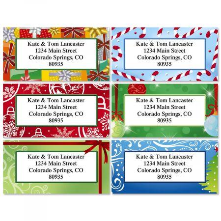 Holiday Bright Border Return Address Labels  (6 Designs)