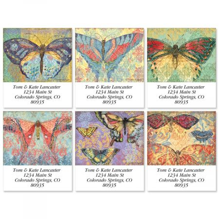 Elaborate Butterflies Select Return Address Labels  (6 Designs)