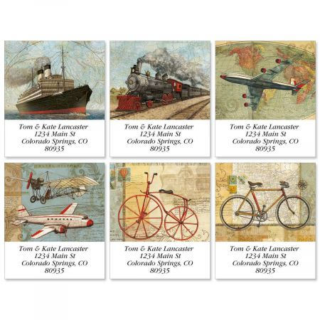 Vintage Travel Select Return Address Labels  (6 Designs)
