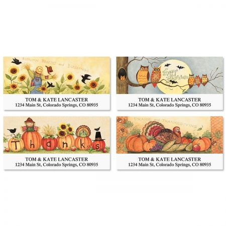 Autumn Mix Deluxe Return Address Labels  (4 Designs)