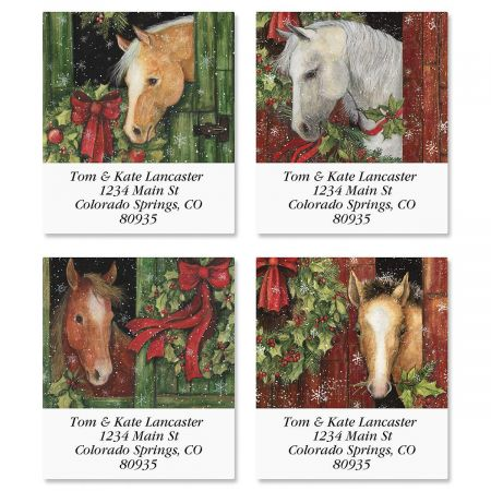 Christmas Horses Select Return Address Labels  (4 Designs)