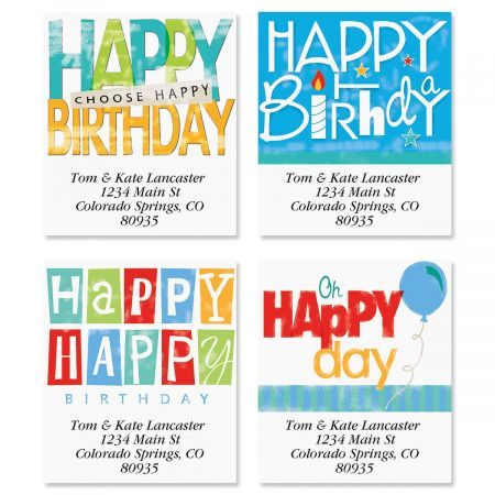 Happy Birthday Select Return Address Labels  (4 Designs)