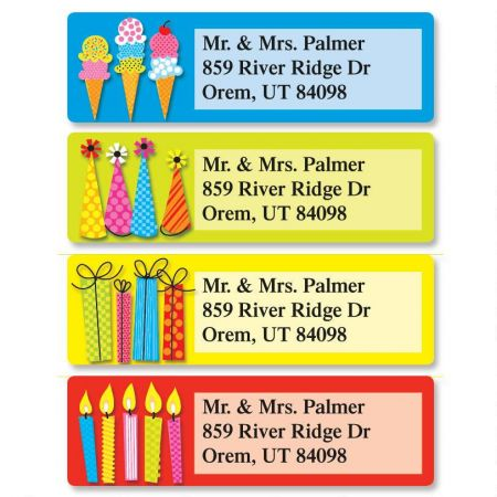Bold Birthday Classic Return Address Labels  (4 Designs)