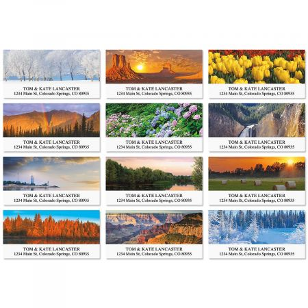 natures beauty deluxe return address labels colorful images