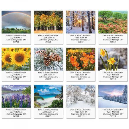 seasonal beauty select return address labels colorful images
