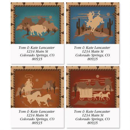 Western Silhouette Select Return Address Labels  (4 Designs)