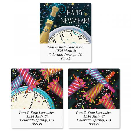 New Years Clock Select Return Address Labels  (3 Designs)