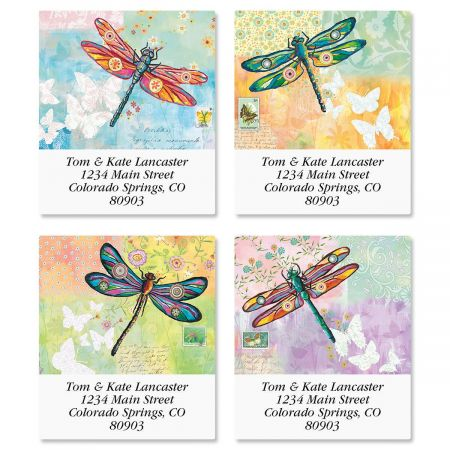 Vibrant Dragonflies Select Return Address Labels  (4 Designs)