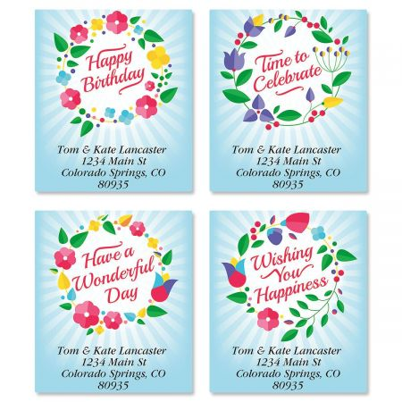 Wreath Blooms Select Return Address Labels  (4 Designs)