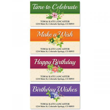 Framed Birthday Deluxe Return Address Labels  (4 Designs)