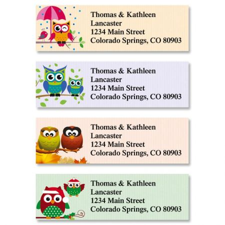 Year Round Owls Classic Return Address Labels  (4 Designs)