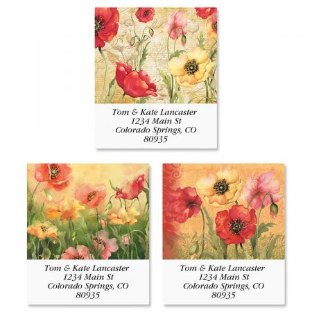 Poppies Select Return Address Labels  (3 Designs)